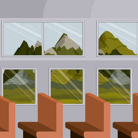 background interior train with a passenger compartment row chairs and landscape scenery outside vector illustration