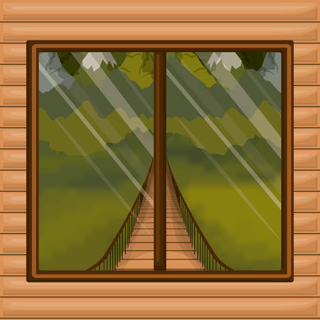 interior wooden cabin with suspension bridge and forest scenery behind window vector illustration