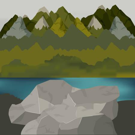 outside forest scenery with lake and rocks vector illustration Ilustração