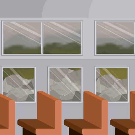 background interior train with passenger compartment with rocks scenery behind window vector illustration Vettoriali