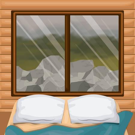 窓ベクトルイラストの背後にあるベッドと森の岩の風景を持つインテリア木製のキャビン