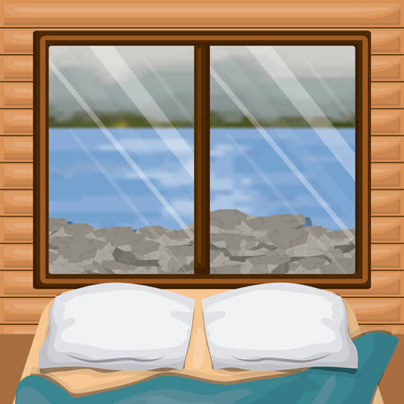 background interior wooden cabin with bed and blur river with rocks scenery behind window vector illustration