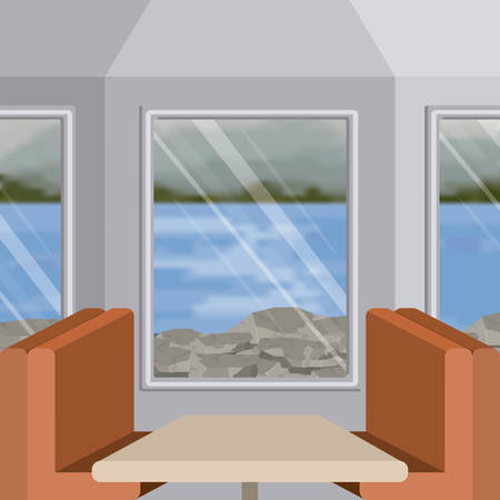interior train with a passenger compartment and blur lake scenery outside vector illustration