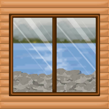 background interior wooden cabin with blur river with rocks scenery behind window vector illustration  イラスト・ベクター素材