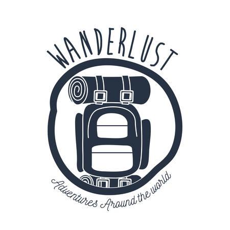 white background wanderlust logo camping bag vector illustration