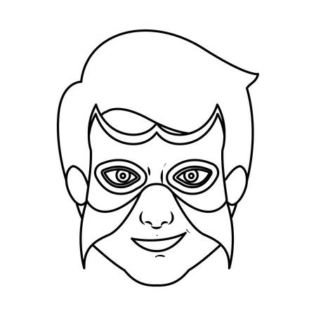 monochrome silhouette with man superhero with mask vector illustration