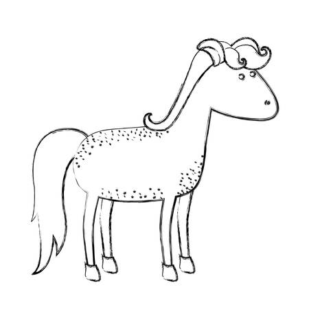 Monochrome blurred silhouette of cartoon horse with freckles and standing vector illustration