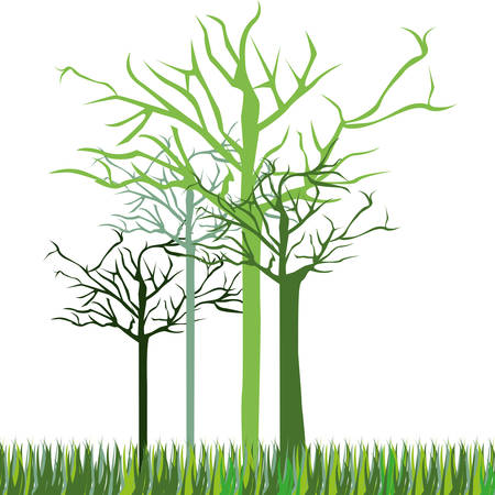 leafless green trees icon, vector illustraction design image Illustration