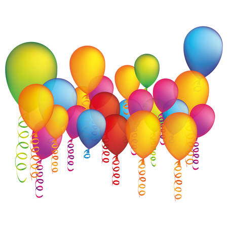 Colored party balloon with serpentine icon, vector illustration design