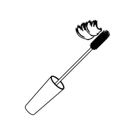 Contour lid eyelash mascara icon, vector illustration design image