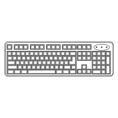 White computer keyboard icon, vector illustration design 일러스트