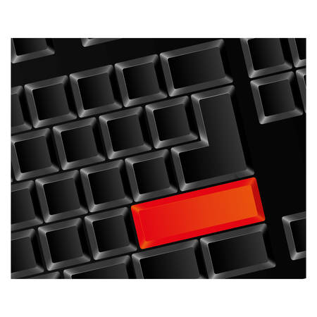 Computer keyboard with red button, vector illustraction design