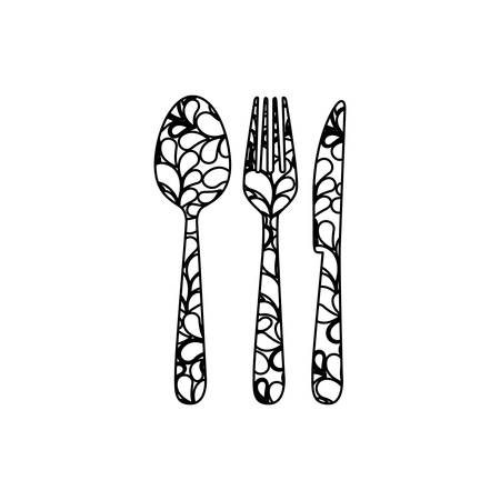 silhouette cutlery printed floral design vector illustration