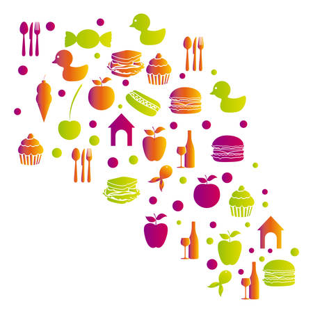 colorful pattern with food elements icon vector illustration