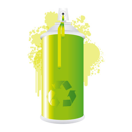 Eco aerosol spray metal with smoke green paint vector illustration