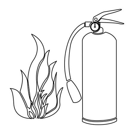 contour fire flame and extinguisher icon vector illustration
