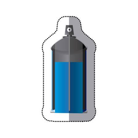 Sticker colorful internal view aerosol spray bottle can vector illustration