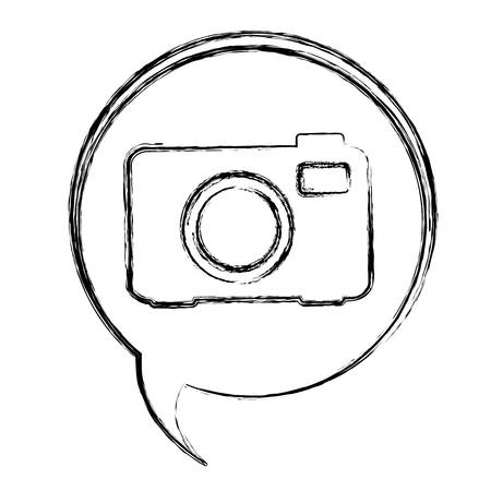 blurred contour dialogue box with silhouette tech digital camera illustration