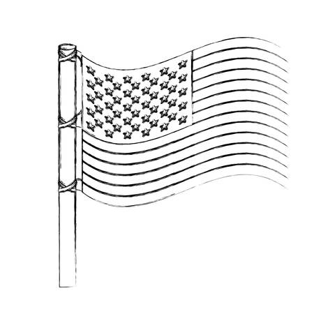 blurred silhouette usa flag design with pole vector illustration
