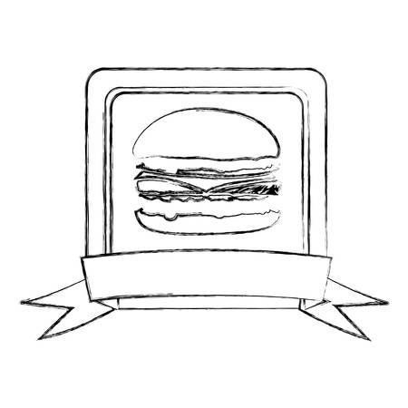 Monochrome sketch of square frame with ribbon and burger vector illustration Иллюстрация