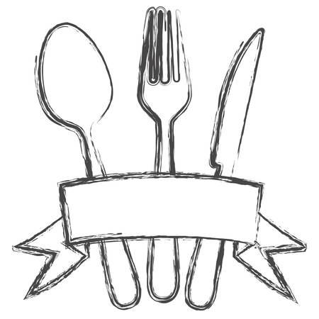 Monochrome sketch background with ribbon and kitchen cutlery vector illustration Ilustração