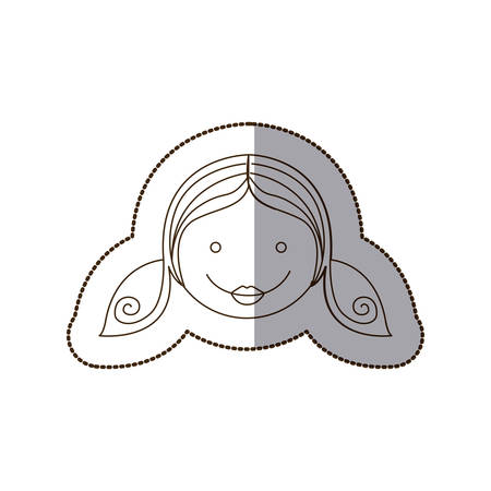 happy girl with hairstyle icon, vector illustration design