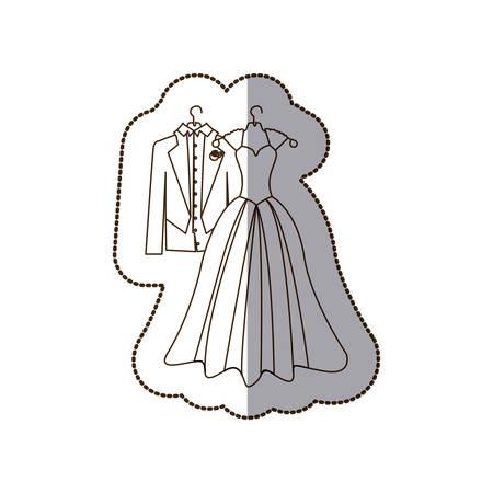 elegant jacket and dress married icon, vector illustration design