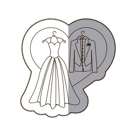Elegant jacket and dress married with heart, vector illustration design