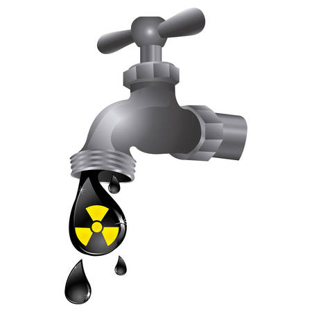 faucet with drop water contaminated, vector illustration design Stock Illustratie