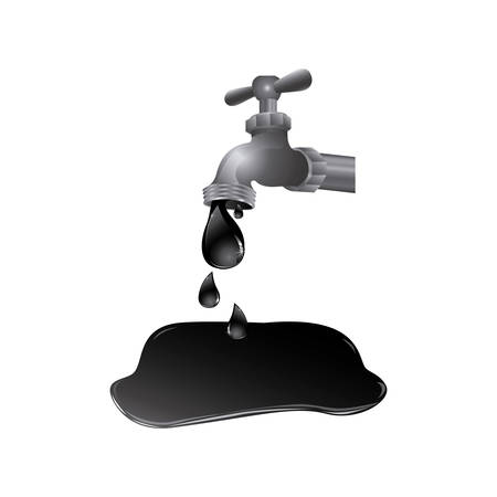 faucet with petroleum drop contamination, vector illustration design Çizim