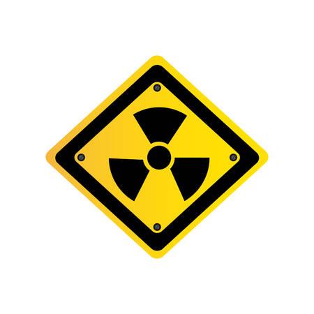 matal emblem warning radiation sign, vector illustration design