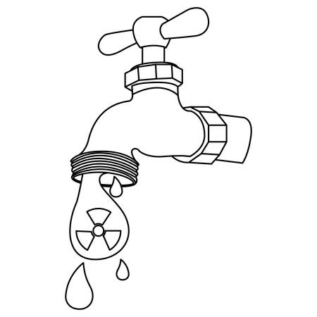 Silhouette faucet with drops of contaminated water, vector illustration design