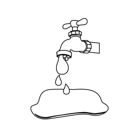 Silhouette faucet pouring out water drop icon, vector illustration design