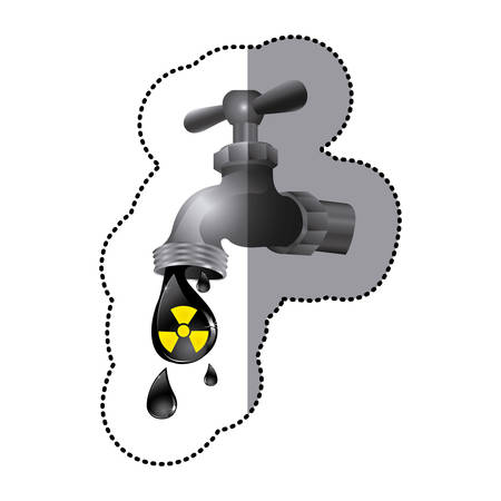 silver faucet with drop water contaminated, vector illustration design