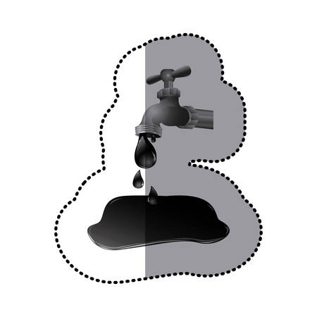 Silver faucet with petroleum drop contamination illustration.