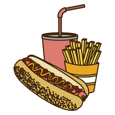 color figure with hot dog with french fries and soda vector illustration Vectores