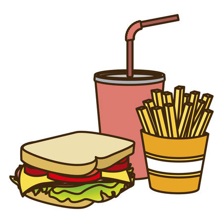 Color figure with sandwich with french fries and soda vector illustration