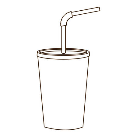 monochrome contour of soda with straw vector illustration