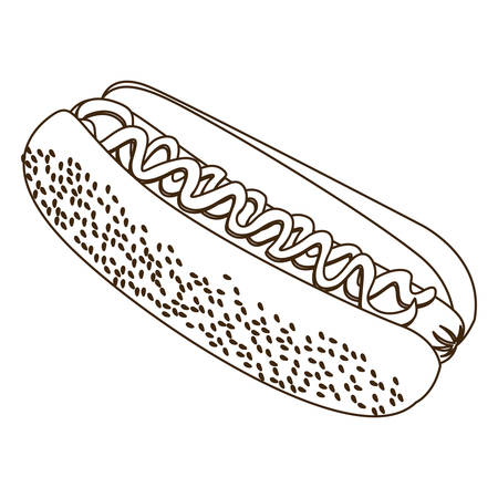 Monochrome contour with hot dog vector illustration.