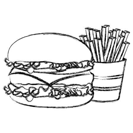 monochrome sketch with burger and french fries vector illustration