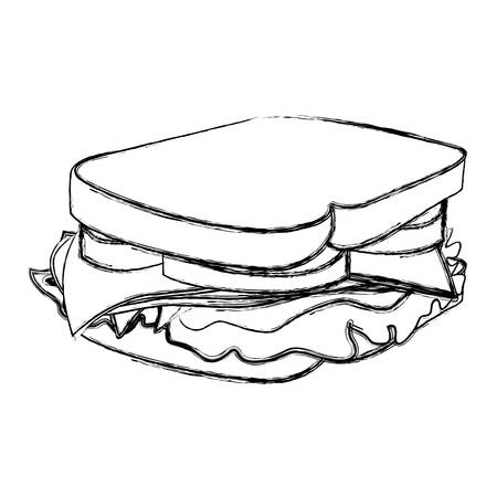 monochrome sketch with big sandwich vector illustration 矢量图像