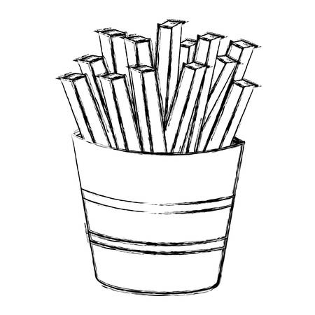 Monochrome sketch with portion of french fries vector illustration Ilustração