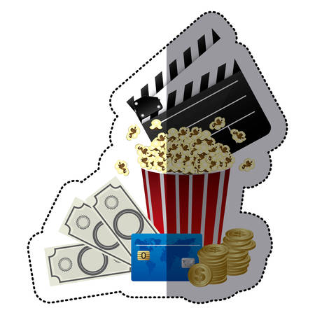 Sticker color with popcorn cup with movie tickets and clapper board vector illustration