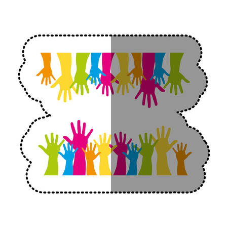 color together hands up icon, vector illustration design Illustration