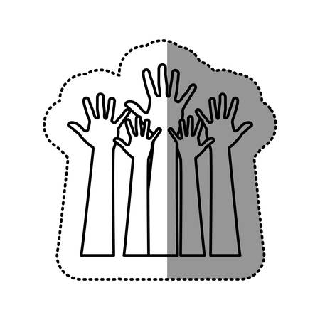 silhouette hands up icon, vector illustration design Illustration