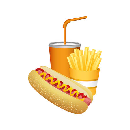 Hot dog, fries and soda food, vector illustration