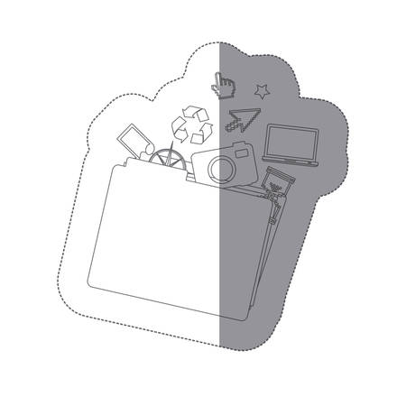 Sticker monochrome shading silhouette folder and tech elements vector illustration. Banque d'images - 97553751