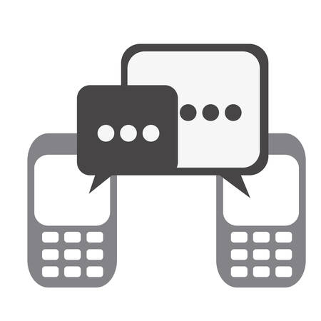 Silhouette set tech cellphone and dialog box icon. Flat vector illustration.