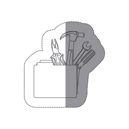Sticker monochrome contour with folder and hand tools vector illustration.