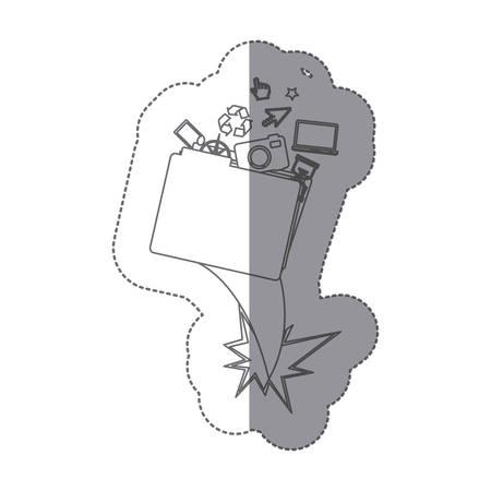 sticker monochrome silhouette folder and tech elements vector illustration Foto de archivo - 104666719